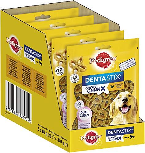 Pedigree Dentastix Chewy Chunx Zahnpflegesnacks für große Hunde ab 15kg, mit Huhn, 5 Packungen (5 x 68 g)