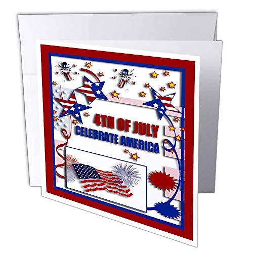 3dRose gc_20170_2 wenskaart, 15 x 15 cm, motief: 4 juli vieren Amerikaanse vlag, sterren en brandrecracker, 12 stuks