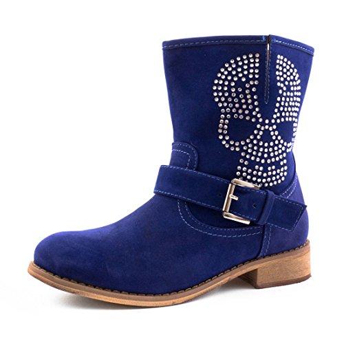 Marimo Damen Strass Totenkopf Stiefel Stiefeletten in Wildlederoptik Blau 36