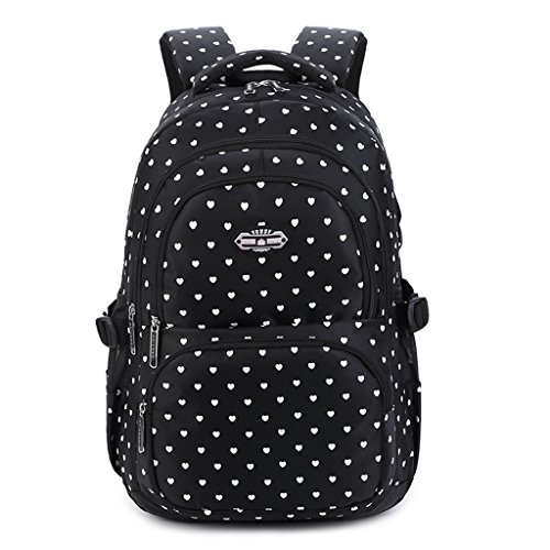 Mädchen Rucksack, Kinderrucksäcke Schultasche für Kinder Kleinkinder Studenten Bookbag Lässiger Tagesrucksack Laptop Rucksack Outdoor Reisetasche - Schatz Schwarz