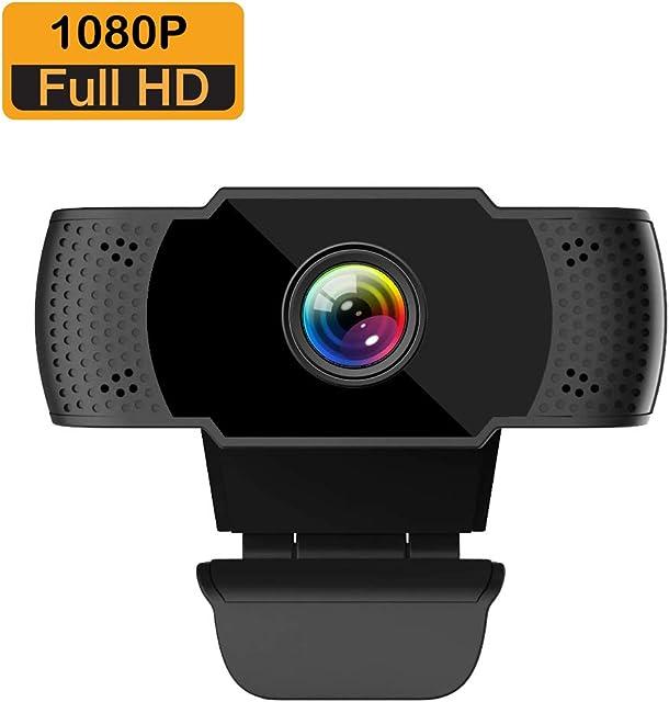 ieGeek Webcam Full HD 1080P con Micrófono Computadora Portátil PC de Escritorio USB 2.0 Cámara Web para VideollamadasEstudiosConferencias Grabación Juegos con Clip Giratorio