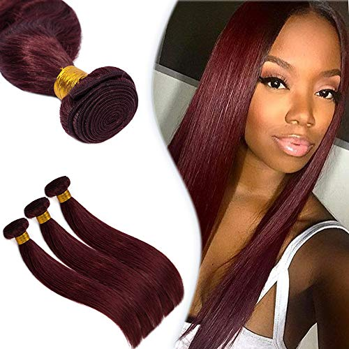 99J Wine Red Hair One Bundle Brazilian Virgin Human Hair Weft Extensions Burgundy Red Straight Sew in Hair Weave 100g/bundle 16 Inch
