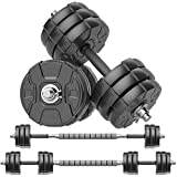 RUNWE Adjustable Dumbbells Barbell Set, Free Weight Set with Steel Connector at Home/Office/Gym Fitness Workout Exercises Training, All-Purpose for Men/Women/Beginner/Pro(70 lbs -2 Dumbbells in Total)