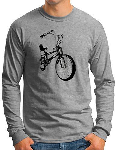OM3® Bonanza Fahrrad Langarm Shirt | Herren | Retro Vintage Rad Bonanzarad II BW | Grau Meliert, M