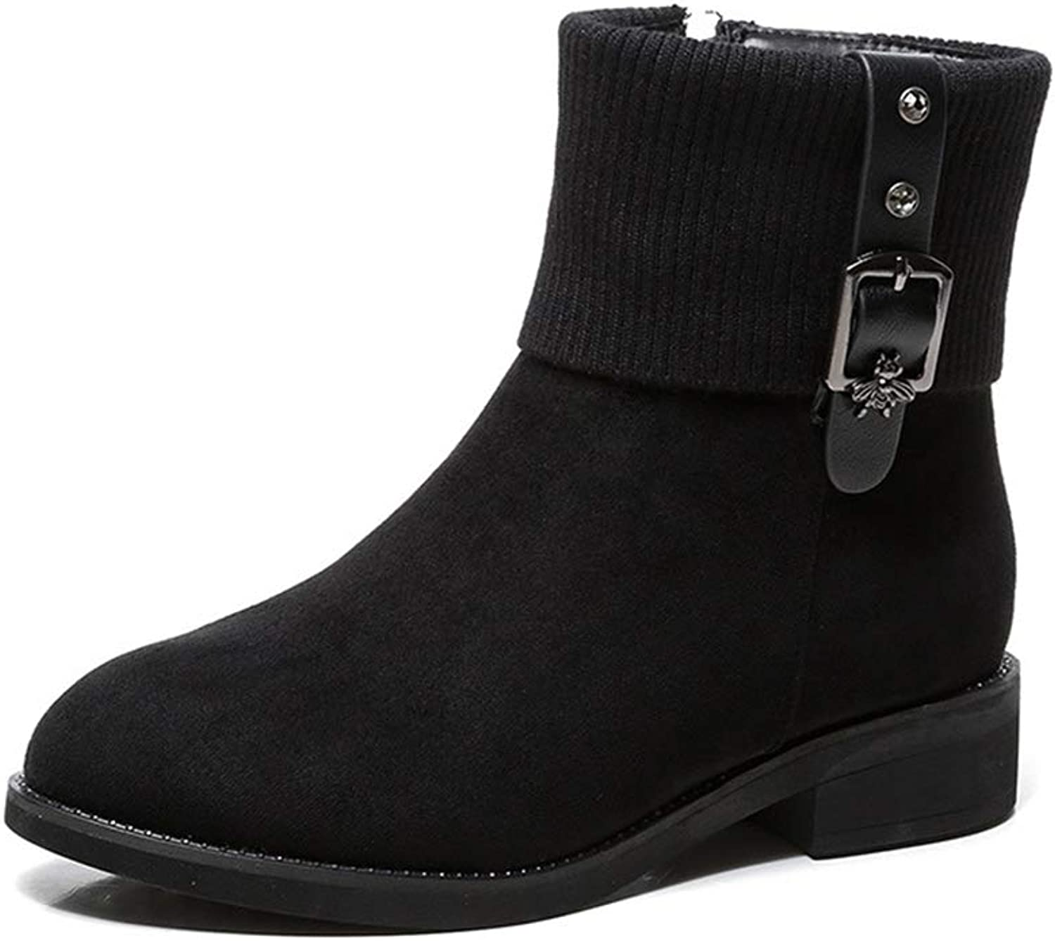 Women's Booties, Plus Velvet Thick Heel Wild Fashion Boots Ladies Winter New Comfortable Martin Boots (color   Black, Size   36)