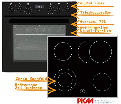 PKM Einbauherd Set Backofen Ceran Kochfeld mit Edelstahlrahmen Herd Set Schwarz | Bräterzone | Teleskopauszüge | Timer | 2+1 Dualzone | Edelstahlrahmen | Heißluft | Umluft | Grill