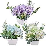 3 pezzi mini fiori artificiali in vaso, fiori di camelia di seta finta piante in vasi di plastica bianca per desktop da ufficio decorazione della festa nuziale domestica (blu, verde, viola)