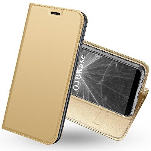 OJBKase OnePlus 5T Hülle, Premium Slim PU Leder Handy Schutzhülle [Standfunktion] Hülle/Cover/Brieftasche/Ledertasche Bookstyle Tasche Lederhülle Handyhülle für OnePlus 5T (Gold)