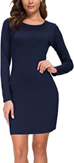 Urban CoCo Women's Long Sleeve Knitted Bodycon T-Shirt Dress