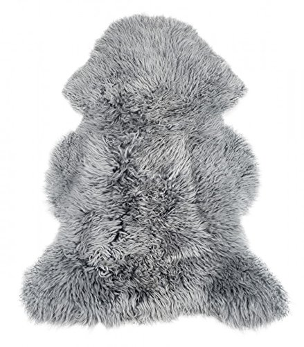 NaDeco Schaffell Curly grau Curly Lammfell mit Naturlocke graues Schaffell Grauer Fellteppich Schaffellteppich in grau