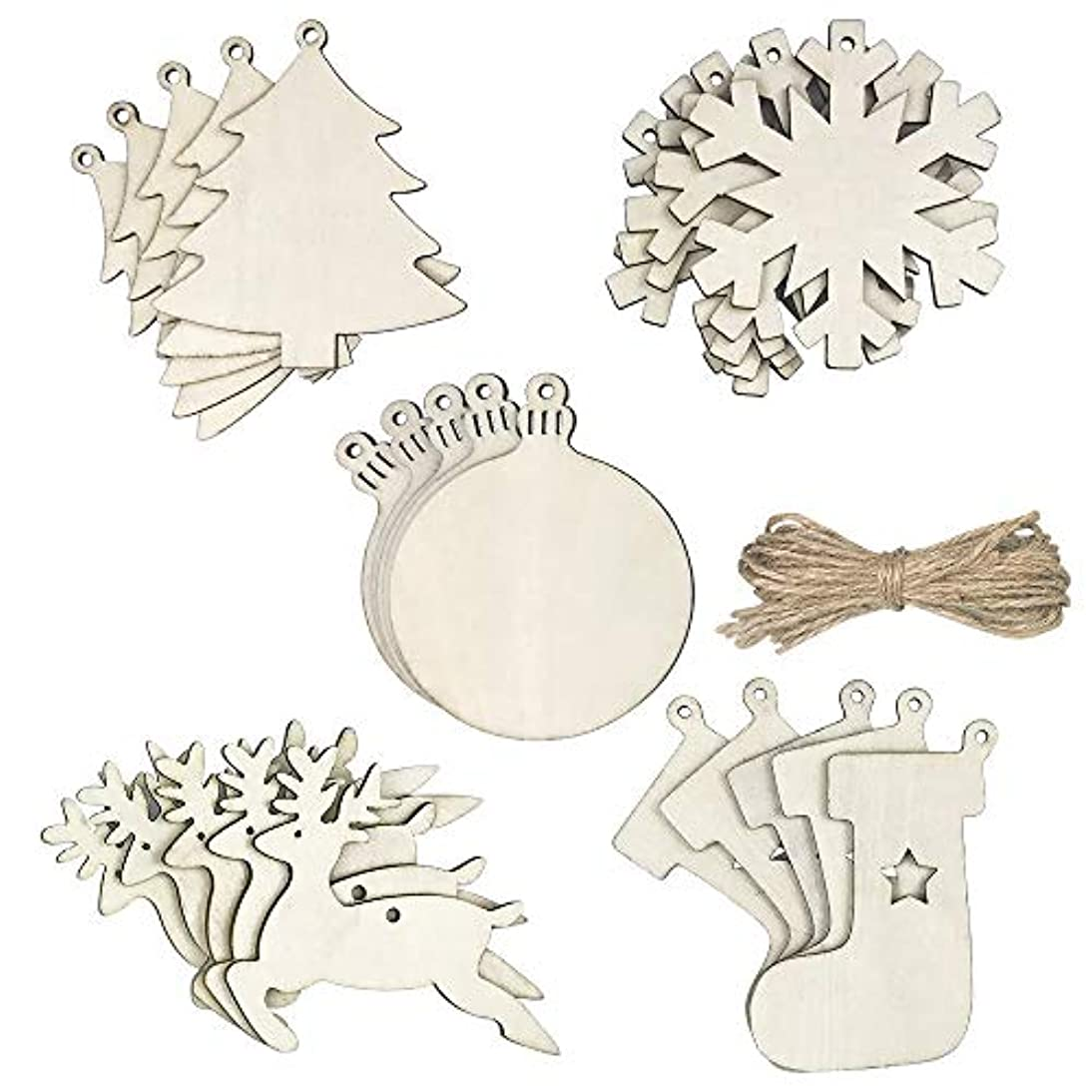 25 PCS Snowflake Reindeer Stocking Tree Round Wood Discs Shaped Unifinished Wood Slice Embellishments Hanging Ornaments Decoration with 25 Pieces Twines vzwt689631636377