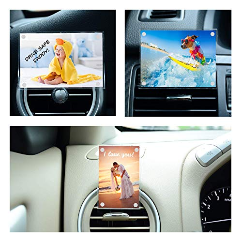 CARVENTFRAMES, Premium Picture Frame for Your Car (Premium Acrylic) Fits Wallet Size Photo (2.1 Inches x 3.2 Inches), Includes Absorbent Pad for Custom Air Freshener, Clips to Automotive Fan Outlet