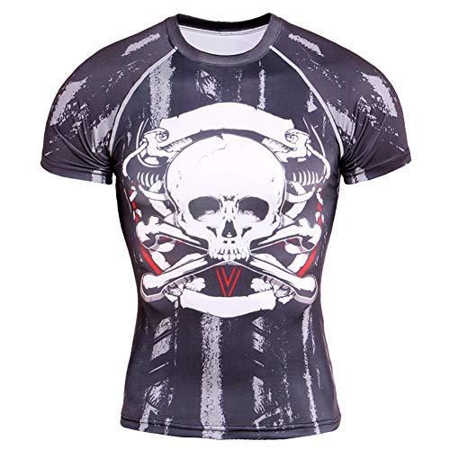 CJF T-shirt 3D schedel korte mouwen 3D print ronde hals korte mouwen casual hipster creatief T-shirt voor mannen