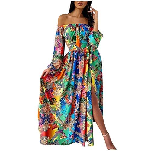 Janly Clearance Sale Vestidos para mujer, vestido maxi de manga larga con estampado de hombros descubiertos, vestido estampado de manga larga, para vacaciones, boda, fiesta de Birhday (verde-3XL)