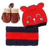Bearbro Bufandas del Bebé, Invierno Niño Niña Sombrero y Bufandas otoño Invierno niños niñas Punto Gorras y Bufanda Guantes Traje de Tres Piezas (Rojo)