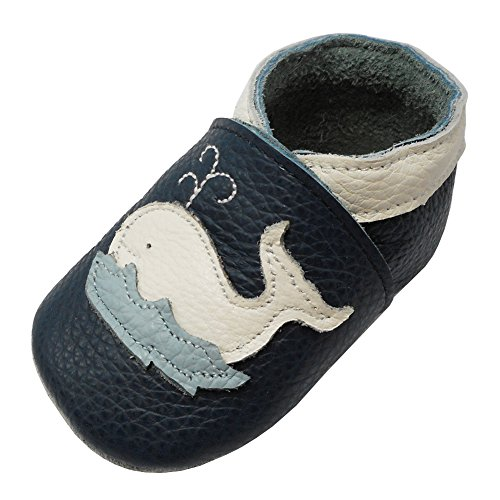 YIHAKIDS Premium Weiche Leder Krabbelschuhe Babyschuhe Kleinkind Lauflernschuhe Mit Karikatur Wal(Cyan,12-18 Monate,23 EU)