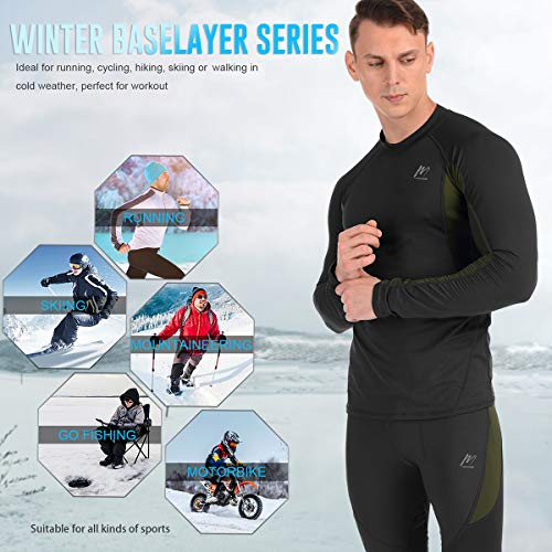 Product Image 5: MeetHoo Thermal Underwear for Men, Fleece Lined Base Layer Set Long Johns for Running Skiing Black