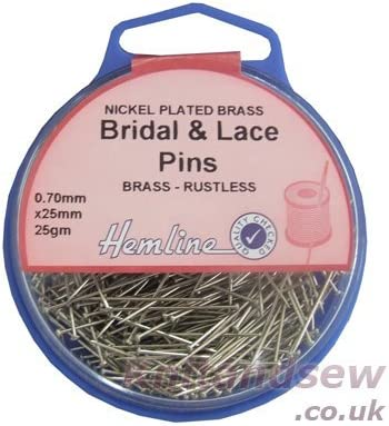Hemline Dressmakers Max 87% OFF Bridal Houston Mall and Lace Pk of Pins 25mm 25G