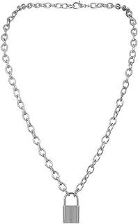 Fishyu - Collana da donna con ciondolo a forma di lucchetto, stile vintage, 1 pezzo argento