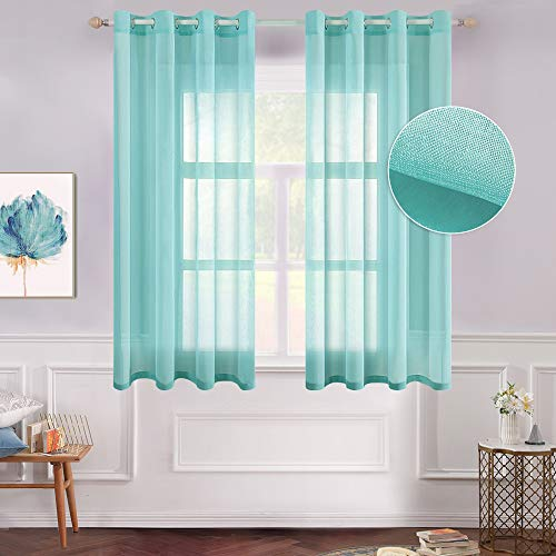 MIULEE 2 Panels Turquoise Semi Sheer Window Curtains Elegant Grommet Top Window Voile Panels/Drapes/Treatment Linen Textured Panels for Bedroom Living Room (54X63 Inches) California
