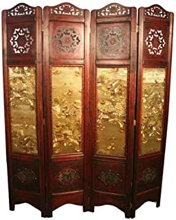 Asian Home Vintage Oriental Style 4 Panels Screen Room Divider