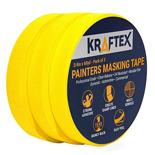 Painters Tape 180YRD x � Inch for Pro Painting [CLEAN LINES EVERYTIME] 3 x 60YRD Rolls. Masking for Paint, Wallpaper, Wood, Glass, Metal. Protect Walls, Surface, Trim. Yellow Paper Tape, Prevent Stain