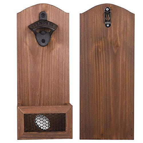 E-King Abrebotellas de cerveza montado en la pared de madera del,abridor de botellas de cerveza retro para bar, hogar, cocina, terraza, garaje, regalo para padre y novio