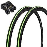 GORIX(ゴリックス) 自転車タイヤ 2本 + チューブ 2本セット 700×23c ロードタイヤ passion23 (グリーン)