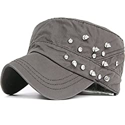 Studded Rhinestone Crystal Cadet Army Cap In Grey