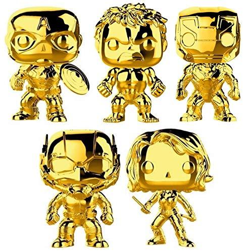 "Funko Pop! Marvel: Marvel Studio 10 Gold Chrome Vinyl Figure Collection #1, 3.75"" (Set of 5) image"