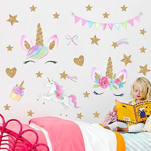 PISKLIU Muursticker Comic eenhoorn paard bloem ster hart vorm muursticker Decal voor kinderkamer decoratie huis knutselen dieren muur kunst