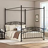 Full Size Metal Canopy Bed Frame with Ornate European Style Headboard & Footboard Sturdy Black Steel Holds 660lbs Perfectly Fits Your Mattress Easy DIY Assembly All Parts Include (Black, Full-Deluxe)
