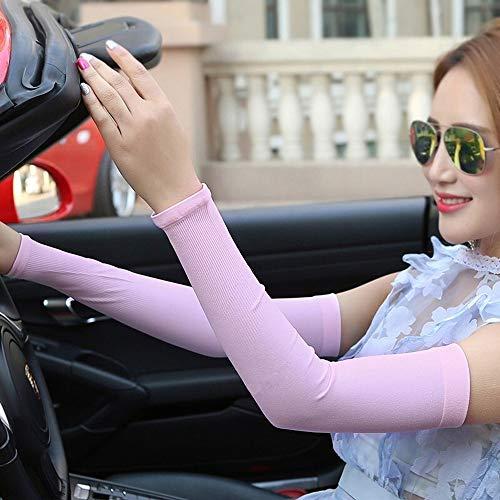 ZGGYA Estate esterna di guida in bicicletta della protezione della mano manica di ghiaccio seta lunga femminile Thin Thin Anti-puff traspirante Anti-ultravioletta braccio di protezione manica manica d
