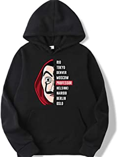 La casa de papel Professor Hoodies Money Heist Sweatshirts House of Paper men tops Hooded Hoodies (black, L)