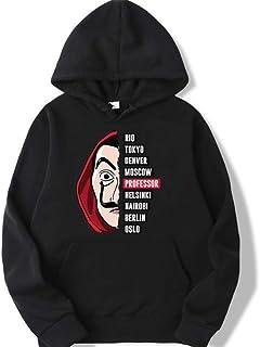 La casa de papel Professor Hoodies Money Heist Sweatshirts House of Paper men tops Hooded Hoodies (black, S)