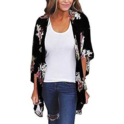 Women Floral Print Sheer Chiffon Loose 3/4 Sleeve Kimono Cardigan Capes (2XL, Black) from