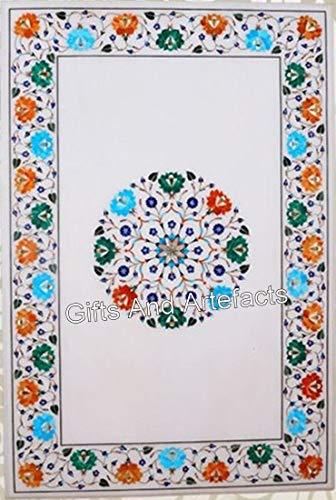 Mesa de comedor de mármol blanco de 24 x 48 pulgadas con Pietra Dura Art de la India