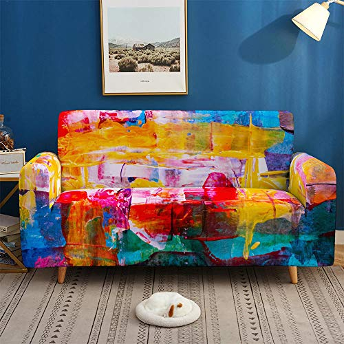 HXTSWGS Universal Sofa Slipcover,3D Colorful Sofa Covers, Stretch Slipcovers Sectional Elastic Stretch for Living Room Couch Cover L shape-BDB51_1-seat 90-140cm