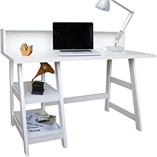 ChooChoo Writing Computer Desk, Home Office Desk, Trestle Desk with Opening Shelf, Student Table Spacious Study Table Hutch Workstation, 47 inches White