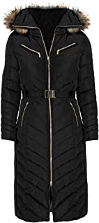 Women's Black Down Maxi Coat Belted