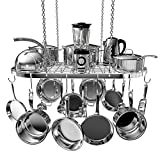 Vdomus pot rack ceiling mount cookware rack hanging hanger organizer with hooks (silver-33 X 17 inch)