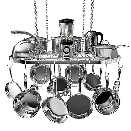 Vdomus pot rack ceiling mount cookware rack hanging hanger organizer with hooks silver-33 X 17 inch