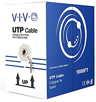 VIVO Gray 1,000ft Bulk Cat5e CCA Ethernet Cable 24 AWG UTP Pull Box Cat-5e Wire Indoor Network Installations CABLE-V001