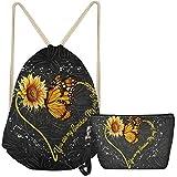 ZFRXIGN Girls Drawstring Bag Butterfly Sunflower Makeup Bag Set of 2 Pack String Bag Backpack Soft Leather Zipper Makeup Bag - You Are My Sunshine