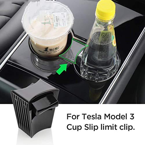 L&U Auto-Wasser-Schalen-Slot Schlupfgrenze Clip für Tesla Model 3 2017-2019 ABS Auto Becherhalter Limiter