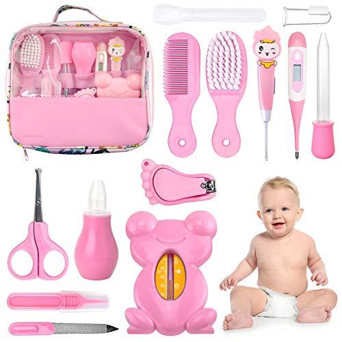 Set para Cuidado del Bebé HyAdierTech 13 piezas Conjunto de Aseo para Bebés Cuidado, Kit de Aseo Nail Clipper Tijeras Cepillo de Pelo Peine Manicura Termómetro, Perfecto para Recién Nacido (Rosado)