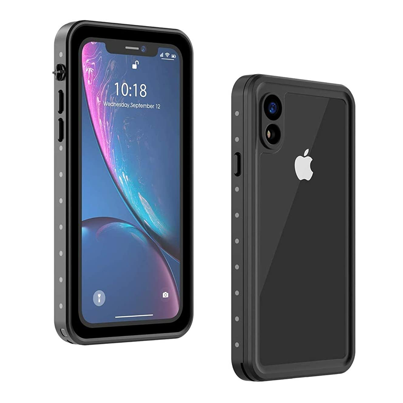 Wildtek DOT Series iPhone XR Waterproof Case | Underwater Snowproof Dirtproof Shockproof with Touch ID | Fully Sealed Cover Waterproof Phone Case | 4.7 Inch Black