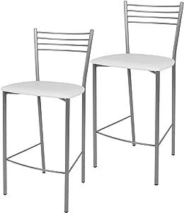 Tommychairs - Set de 2 taburetes Elena para Cocina y Bar, con Estructura en Acero Pintado Color Aluminio y Asiento tapizado en Polipiel Color Blanco