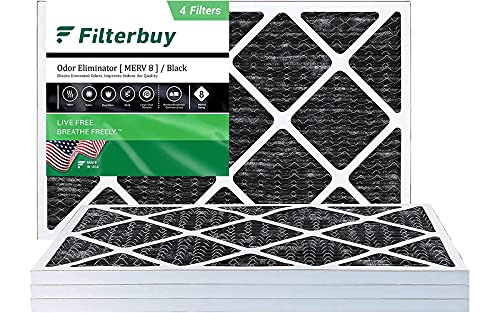 FilterBuy 12x20x1 Air Filter MERV 8 (Allergen Odor Eliminator), Pleated HVAC AC Furnace Filters with Activated Carbon (4-Pack, Black)