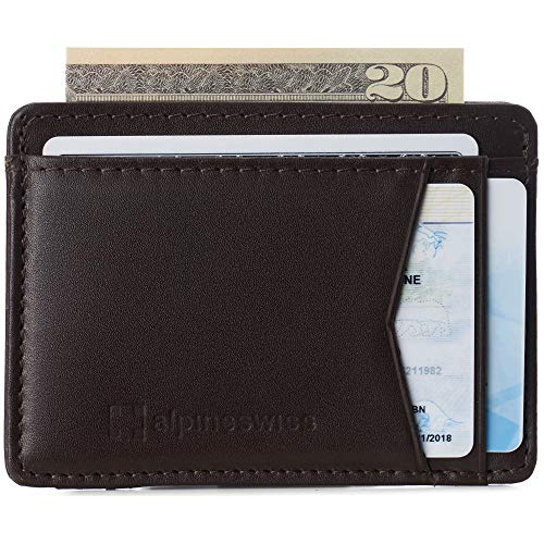 Alpine Swiss Mens Oliver RFID Safe Minimalist Front Pocket Wallet Smooth Leather Comes in a Gift Box Brown